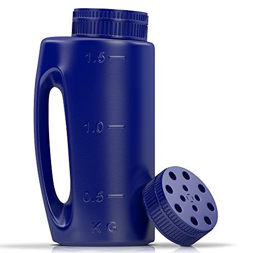 Ezisoul Seed Spreader Plastic Seeder Shaker 75 oz (2L) Salt Dispenser Bottle Ideal for Lawn Garden Fertilizer Ice Melt Tool with Bonus Spare Adjustable Lid