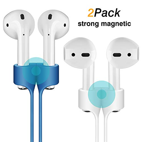 Cuauco [2 Pack] Magnetic Adsorption Anti-Lost Strap Compatible with Apple Airpods 1&2 Sport Protective Silicone Lanyard for Apple Airpods 1&2 Wireless Headphone (White + Blue)