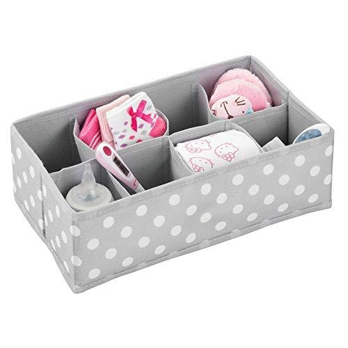 mDesign Caja de almacenaje para habitaciones infantiles o baños – Cestas organizadoras en fibra sintética de lunares –...