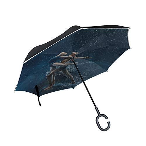 Paraguas Plegable invertido de Doble Capa para niñas Un Joven bailarín de Ballet Elegante Paraguas Compacto Plegable Mejor Paraguas inverso Protección contra el Viento a Prueba de Viento para la llu