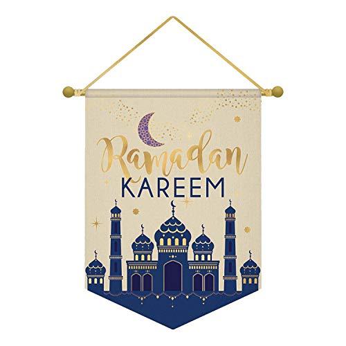 amscan Eid Ramadan Kareem - Pancarta de lienzo (28 x 38 cm, 1 unidad)