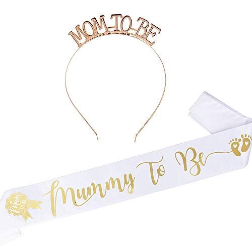 """FLOFIA Corona Mummy To Be Tiara Principessa Cristallo Diamande di Strass con Fusciacca Fascia """"Mummy to Be"""" per Baby Shower Festa"""