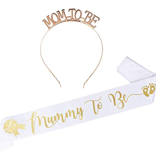 "FLOFIA Corona Mummy To Be Tiara Principessa Cristallo Diamande di Strass con Fusciacca Fascia ""Mummy to Be"" per Baby Shower Festa"