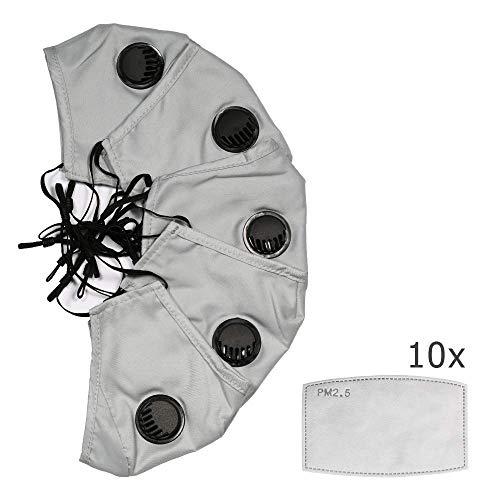 Set 5 Staubmasken mit 10 Aktivkohlefiltern bestehend aus 5 Schichten PM 2.5 mit Ventil - Staub- & Anti-Pollenmaske für Fahrrad, Motorrad, Training, Fitness