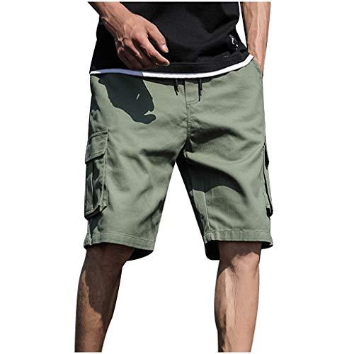Heren zomer in de vrije natuur casual patchwork overalls plus size sport shorts broek short joggingbroek vrijetijdsbroek panty Large legergroen