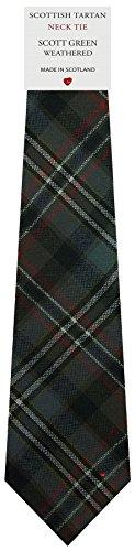 I Luv Ltd Cravate en Laine pour Homme Tissée et Fabriquée en Ecosse à Scott Green Weathered Tartan