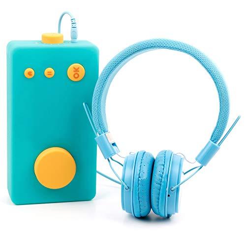 DURAGADGET Casque Bleu Enfant Compatible avec Lunii, ma Fabrique à Histoires – Repliable + Microphone intégré