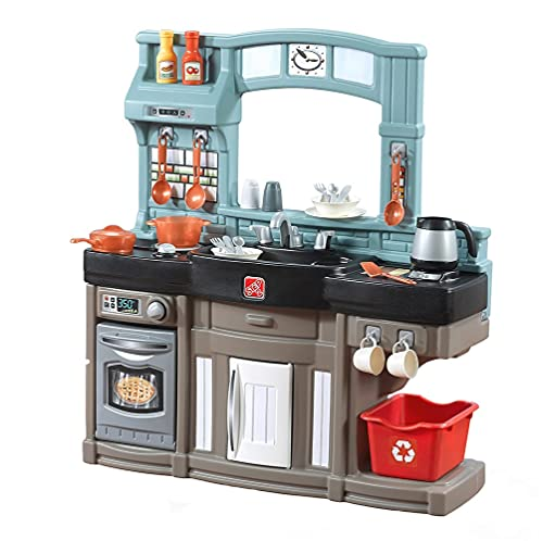 Step2 Best Chefs Kitchen Playset | Kids Play Kitchen with 25-Pc Toy Accessories Set, Real Lights & Sounds Blue
