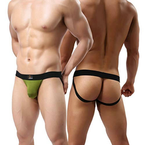 MuscleMate Premium Men's Jockstrap, Hot Men's Jockstrap Thong Underwear, (XL, Green)
