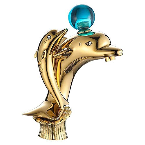 Grifos Monomando para Agua Caliente y fría Grifo para Lavabo de baño - Creatividad contemporánea Diseño Doble en Forma de delfín Grifos de Lavabo de latón para Lavabo de tocador, Acabado Dorado