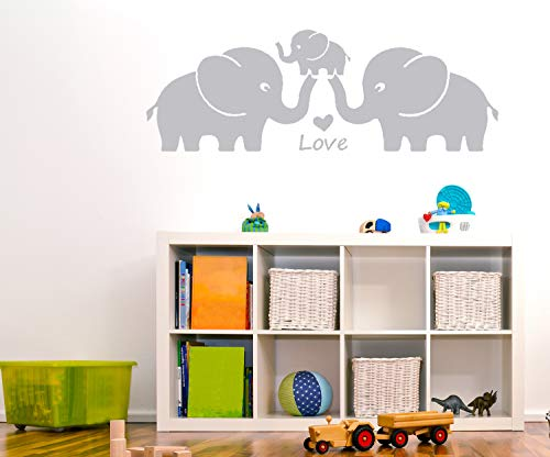 MAFENT Three Cute Elephant Family Wall Decal with Love Hearts Quote Art Baby or Nursery Wall Decor Bedroom Decoration (Grey, Large)