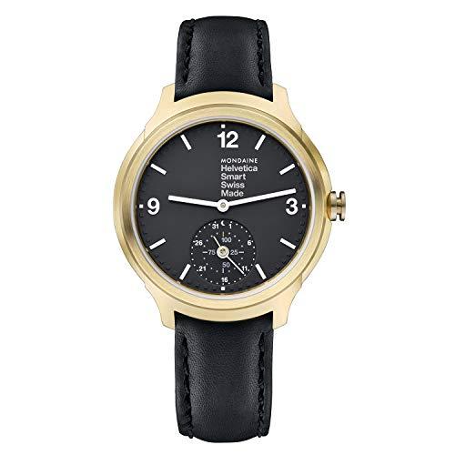 Mondaine Helvetica Smartwatch - Orologio con Cinturino Nero in Pelle per Uomo e Donna, MH1.B2S20.LB, 44 MM.