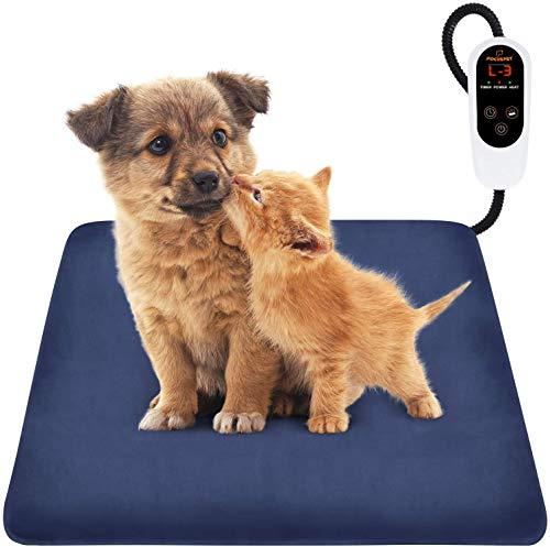 Focuspet Haustier Heizkissen, Heizmatte für Hunde Katzen 60x45, 45x45cm mit 12 Timer- und 6 Temperaturstufen Wärmematte mit Kristall Samtbezug für Neugeborene/ältere/kleine Hunde Katzen usw.