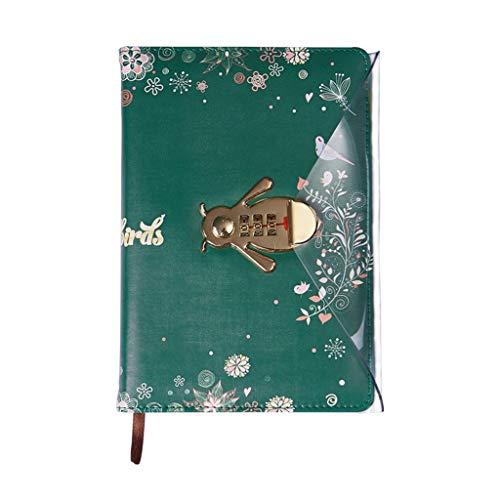 Ixkbiced Cuaderno de flores con bloqueo de contraseña de cuero de viaje de dibujo diario planificador de notas para la escritura de negocios