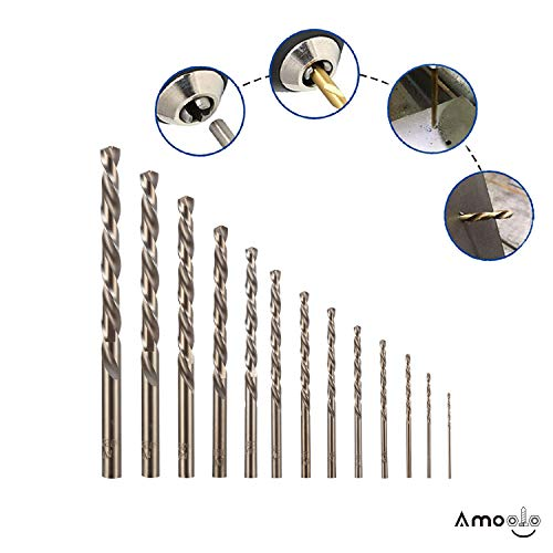 amoolo Cobalt Drill Bit Set (13 pcs), M35 HSS Metal Drill Bits for Steel, Stainless Steel, Metal and Cast Iron,1/16