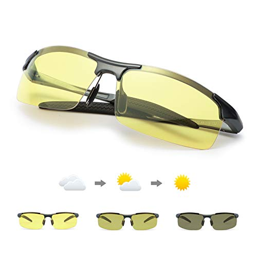 TJUTR Polarisierte Nachtsichtbrille Herren Photochromatisch Sports für100% UVA UVB Schutz Metallrahmen Leicht Nacht Vision Blendschutz Brille (Grau(sport)/Gelb Photochromatisch)