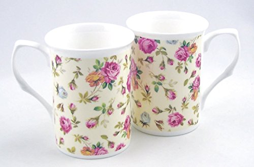 Pair Fine English Bone China Mugs - Rose Basket Cream Chintz