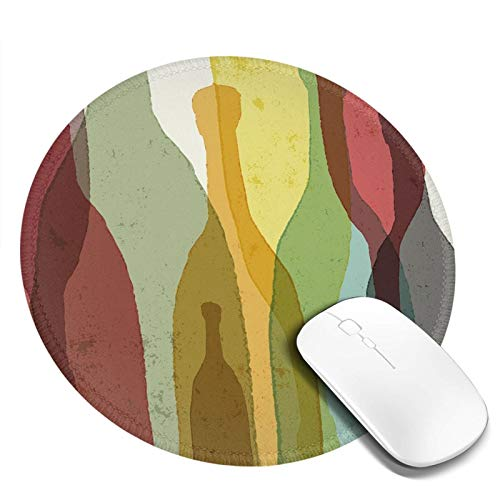 Alfombrilla de ratón redonda de 20 x 20 cm, composición abstracta con siluetas de acuarela, botellas de whisky de vino, tequila vodka, con base de goma antideslizante