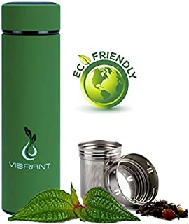 Vibrant All in ONE Travel Mug - Tea Infuser Bottle - Insulated HOT Coffee Thermos - Cold Fruit Infused Water Flask - Food Grade Leak Proof Tumbler Double Wall Stainless Steel 16.9 oz