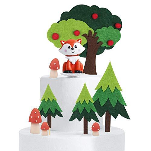 Woodland Theme Cake Topper/Handmade Fox Mushroom Tree Cake Decoration Baby Shower Birthday Party Supplies