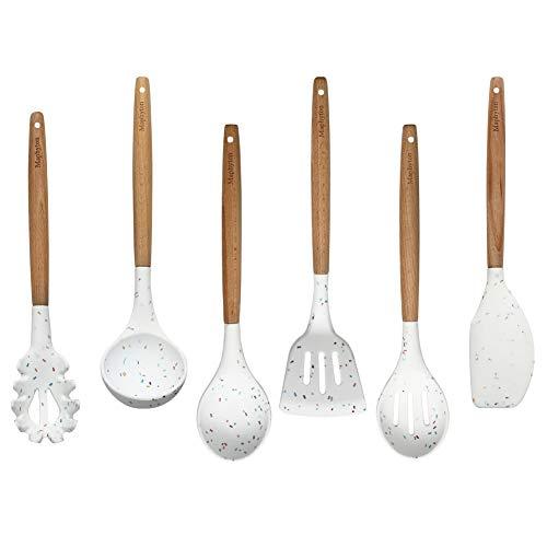 Maphyton キッチンツル 六点セット シリコン料理調理器具 おしゃれな台所用品 木製ハンドル 白い食器 可愛い スプーン、穴あき スプーン、へら、おたま、ターナー、スパゲッティサーバー