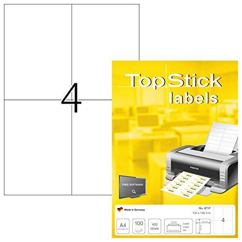 topstick 8717 Universal Etiketten DIN A4 (105 x 148 mm, 100 Blatt, Papier, matt) selbstklebend, bedruckbar, permanent haftend Adressaufkleber, 400 Versandetiketten, weiß