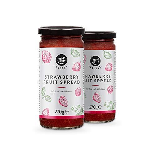 Marca Amazon - Happy Belly Select Mermelada de fresa, 100% de fruta, 2 unidades de 270g