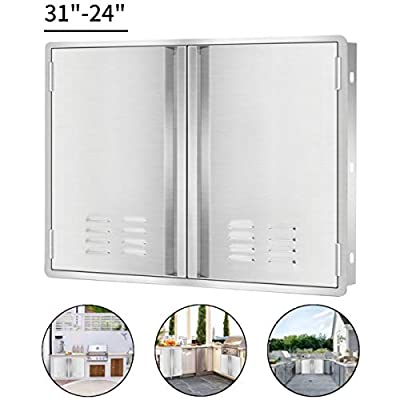 """Marada Outdoor Kitchen Doors,304 Stainless Steel Access BBQ Doors with Vents All Brushed Stainless Steel Flush Mount Double Wall Door for BBQ Island & Grill,Outdoor Kitchen(31'"""" W x 24"""" H)"""