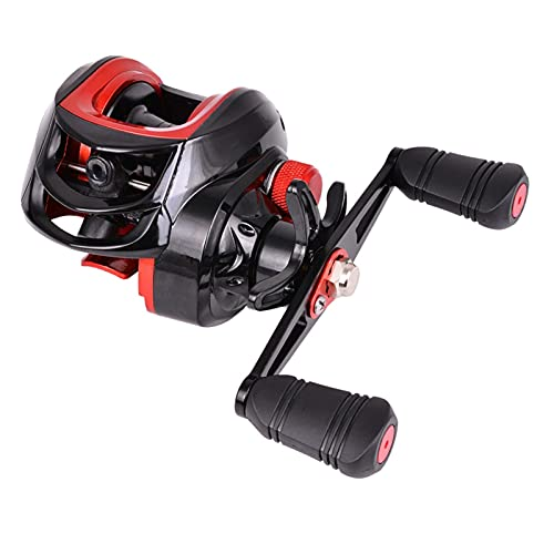 8kg MAX Drag Pesca Reel 7.2: 1 Cebo Casting Reel Line Line Spool Agua Salada Aluminio Área de Agua Dulce 18 Rodamientos Accesorios de Pesca (Color : Black Red, Use Mode : Right Hand)