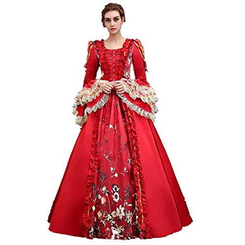 """KEMAO - Disfraz de Rococo Victoriano para Mujer (Medium:Altura 65/67"""" Pecho 36/37"""" Cintura 28/29"""", Rojo-1)"""