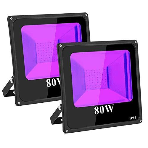 TOPLANET Faro LED Proiettore 80W-2-Pack Luce Nera Luce Effetto IP66 Luce Effetto per Esterni Festa Compleanno Discoteca Bar DJ