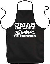 Tini - Shirts Oma Sprüche-Schürze - Sprüche Kochschürze Großmutter - Geschenk-Schürze Omi : Omas wurden erschaffen Weil Enkelkinder wahre Heldinnen brauchen - Geschenk Grillschürze Geburtstag Oma