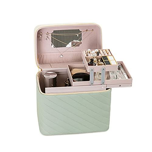 大きな旅行の携帯化された化粧品ケース、メイクアップブラシ皮質のオーガナイザー、女性と女の子のための、緑の鏡のための層状のデザインのトイレタリーバッグ
