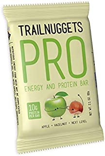 Trailnuggets PRO Protein Energy Bar, Apple Hazelnut, Vegan, Non-GMO, Gluten-Free, Dairy-Free, Soy-Free, Plant Based Protein (Pack of 12)