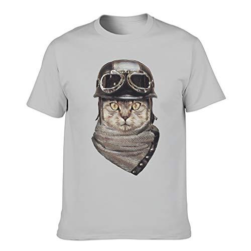 T-HGeschäft Cómoda camiseta para hombre con impresión de casco de gato abstracto Gris plateado. XXXXXXL