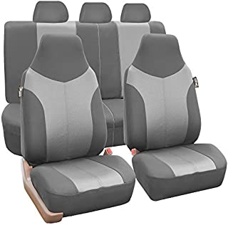 FH Group FB101115 Supreme Twill Fabric High-Back Full Set Car Seat Covers, (Airbag and Split Ready) w. Gift Beige Color- Fit Most Car, Truck, SUV, or Van