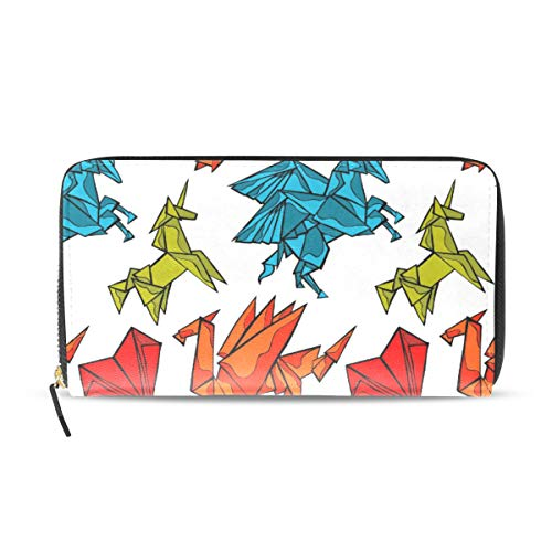 Ahomy Origami Dragon Unicorn Heart - Cartera de Piel para Mujer