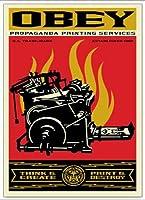 ポスター オベイ Print and Destroy/Shepard Fairey 手書きサイン入り 額装品 アルミ製ベーシックフレーム(ホワイト)