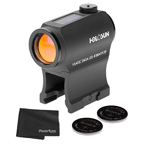 HOLOSUN HS403C Solar Power Micro 2 MOA Red Dot Sight + 2 CR2032 Batteries + Lens Cleaning Cloth