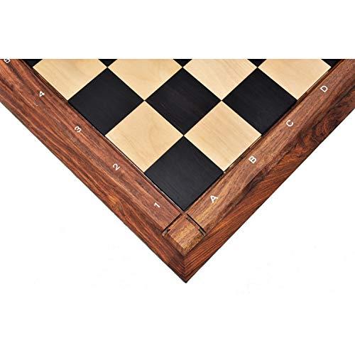 RoyalChessMall Tablero de ajedrez y ébano Macizo de 21 'en Madera de Arce - Acabado algebraico Cuadrado Mate de 55 mm n.
