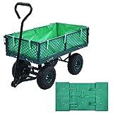 Tidyard Tela Carro Transporte para Jardín Forro para Carretilla de jardín Tela Verde para Carro Plegable Carro de Mano Carrito Playa