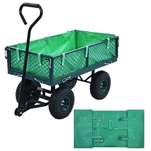 Tidyard Carro Plegable Carro de Mano Carrito Playa Carro Transporte para Jardín Forro para Carretilla de jardín Tela Verde