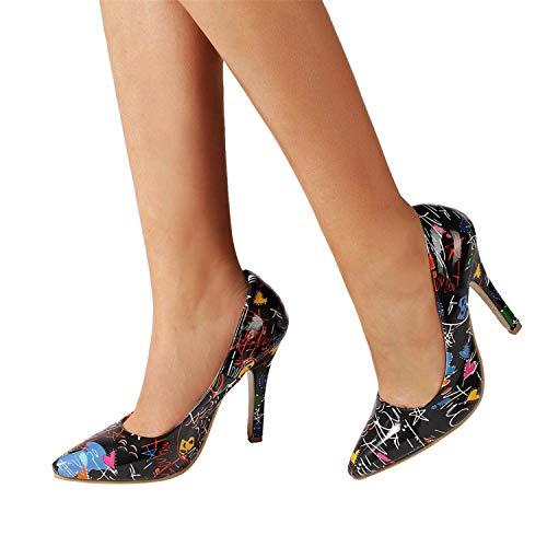 Bombas Zapatos De Tacón Alto Fino Mujer Sexy Elegante Chic De Boda Fiesta De Vestir Bailarinas De Estampado Punta Estrecha De PU De Moda Negro Blanco Azul 35-42(Negro, 38)