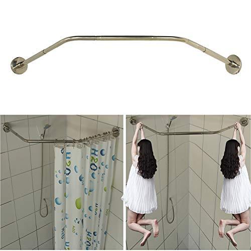"SIKAIQI Stretchable 304 Stainless Diamond Shaped Bathroom Bathtub Corner Shower Curtain Rod Rack(Length on Both Sides: 17""-25.6"",Middle Width:20""-26"")"