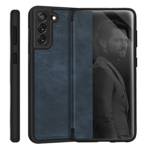 """Skycase Galaxy S21 Case 6.2"""", [Anti Scratch][Shock Absorption],Handmade Flip Folio Case Designed with Interior SD/SIM Card Slot and Ejector Pin Slot for Samsung Galaxy S21 6.2"""" 5G 2020?Navy"""