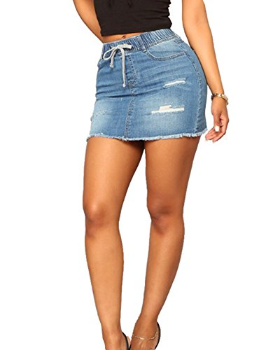 Guiran Mujer Elegante Cintura Elástica Bodycon Retro Falda De Mezclilla Mini Vaquera Faldas Cortas Azul Claro M