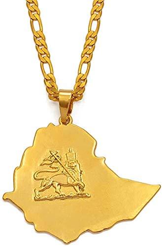 JSYHXYK Collar Collar Etíope Mapa Colgante Collares Cadena Mujeres Hombres Oro Color Joyería África Etiopía León Collar Mapas