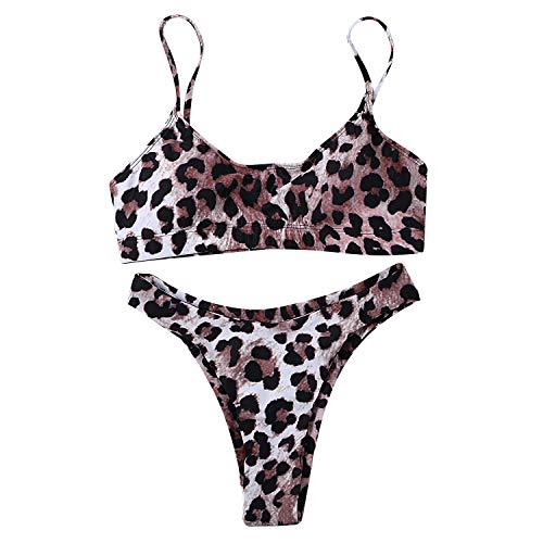 JewelryWe Damen Bikini-Sets Leopardenprint Leopard Push Up Gepolstert Bustier Hohe Taille Bikinislip Badeanzug Bademode, S