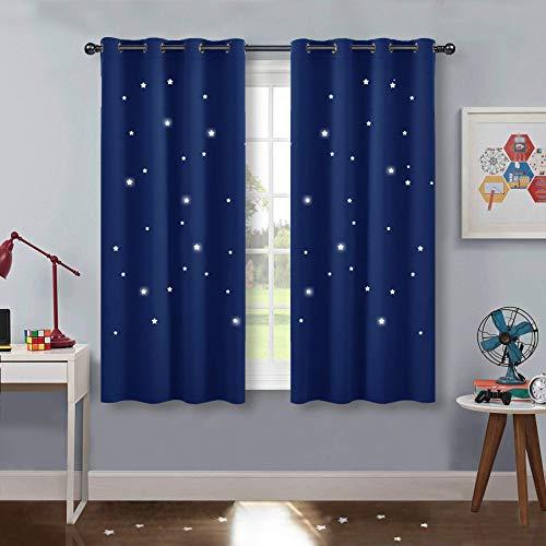 PONY DANCE Kinder Vorhang Schlafzimmer - Kurze Gardinen Blickdicht Dekoschal Gardine mit Ausgehöhlten Sternen Vorhänge Ösenschal, 2er Set H 137 x B 117 cm, Blau