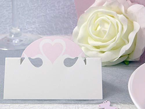 EinsSein 10x Tischkarten Hochzeit Herz Dame rosa Hochzeit, Tischkarten, Platzkarten, Namenskarten, Herz Schmetterling Stuhl Rosen Ringe